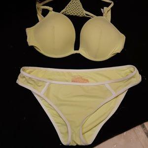 Victoria Secret bright yellow crochet bikini
